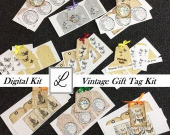 SALE 50% OFF Digital Vintage Gift Tag Kit Printable - Make your own gift tags with easy to follow steps - PDFs with Instructions & Tags etc