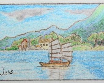 ACEO Color Pencil Drawing - Asian Coastal Junk