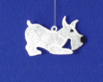 LACE EMBROIDERED DOG Christmas Decoration