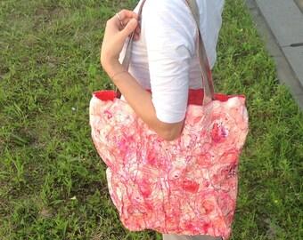 Hot pink shoulder bag/ tyvek/ unique bag