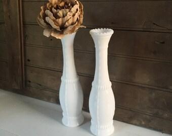 Pair of Vintage Milk Glass Bud Vases