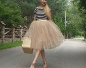 Tulle skirt / tutu / elastic waist tullu / elegant skirt / princess skirt / adult tule / elegant dress / tea length / wedding / ballet
