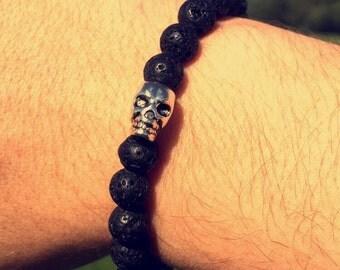 New Black Lava Rock Beaded Bracelet With Silver Skull.