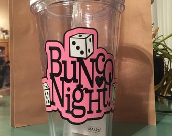 Bunco personalized tumbler with straw