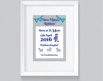 Baby boy birth details print