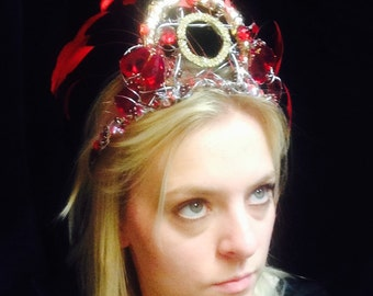Red and Gold Feather Fairy Tiara Head Dress