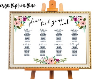 Floral Wedding Seating/Table Chart, Guest List - Printable