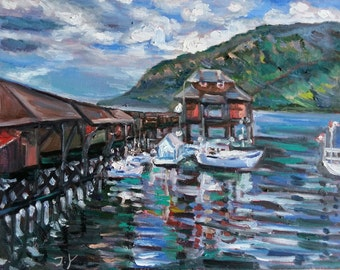 """Original Oil Painting, BC landscape- harbour, 16""""x20"""", 1610261, blue, clouds, mountain, sea"""
