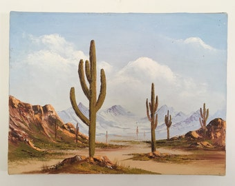 Saguaro Cactus Acrylic Original Painting // Desert Landscape Art