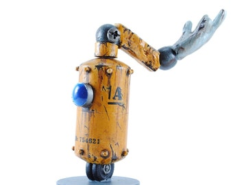 """robot 1A Worker Bot 4in"""" figure handmade/hand painted resin rusty robot old fashioned 1960s industrial cartoon scifi anime themed"""