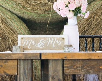 Mr. And Mrs. Burlap sign / wedding / custom