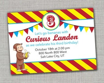 Curious George Invitation / Monkey Party / Curious George Birthday