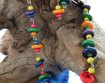 Wooden Beaded Necklace and Earrings. UpCycled Materials