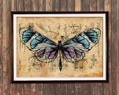Rustic bedroom decor Steampunk print Butterfly poster Insect print SOL204