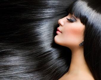 "Black Brazilian Clip In Hair Extensions 18"" Long, 100% Human Hair"