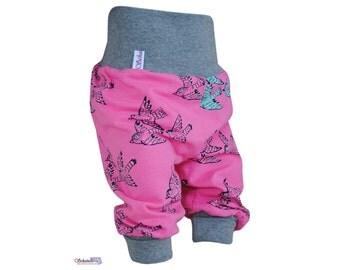 Baby bloomers in pink with bird motifs Mitwachsen pants request size