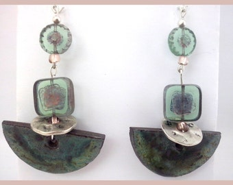 Ceramic Dangle Earrings with indian and chech glass beads