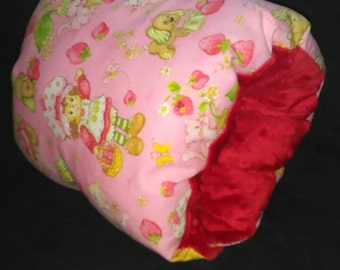 Strawberry Shortcake, red minky, nursing pillow sleeve