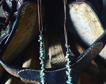 American turquoise fringe necklace