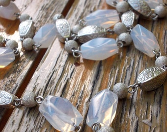 Womens Moonstone Necklace, Long Necklace, Opalite Necklace, jewelry handmade, Stone Jewelry