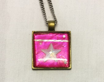 Pink Pendant with Stainless Steel Chain