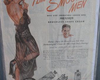 Vintage 1946 magazine ad for Mennen brushless shave cream