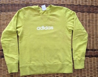 Vintage 90's Adidas Light Green 3 Stripes Sport Classic Design Skate Sweat Shirt Sweater Varsity Jacket Size M #A409