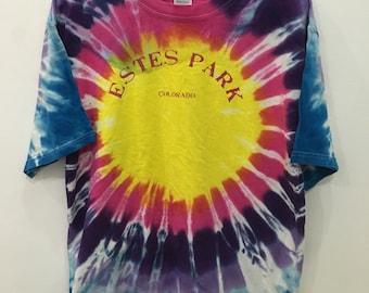 Vintage 90's Tiedye Estes Park Colorado Adult Classic Design Sport Hip Hop Streetwear Size L #B67