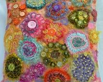 Button flower garden cushion