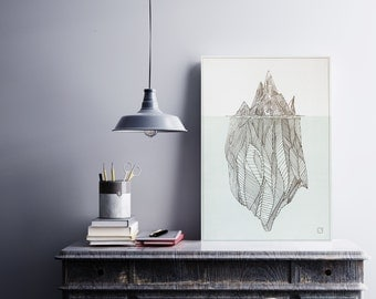 Poster - Iceberg Personnalisable - gilding - color-decoration - living room - bedroom