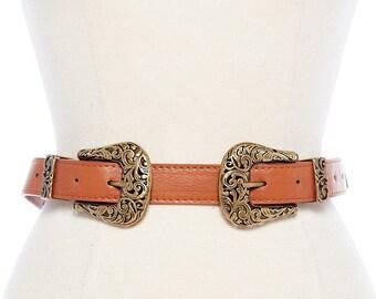 double western buckle skinny belt