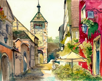 My love South France Watercolor Painting Digital File