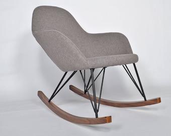Modern Rocking Chair Upholstered Gray Wood Legs