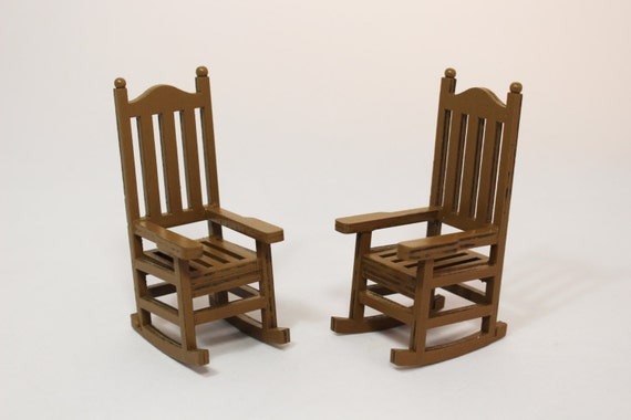 1 Miniature Wooden Rocking Chair Dollhouse Miniatures Fairy