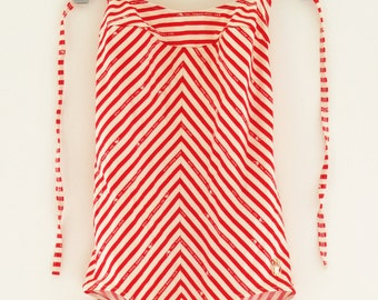 80's TRIUMPH BATHING SUIT - red and white striped - sz S