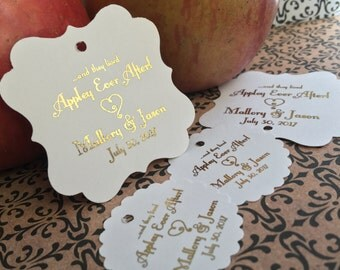 Wedding favor tags, favor tags, caramel apple favors, appley ever after