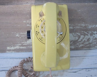 Vintage Yellow Wall Rotary AT&T Kitche Wall Rotary Dial Phone Vintage Yellow Wall Phone