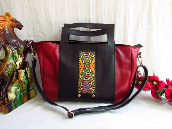 Red leather tote, Black leather tote,  large leather tote, Reddish tote bag, Leather tote bag, extra large handbag, leather laptop bag