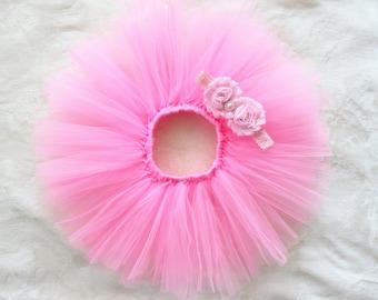 Newborn tutu set, pink tutu set and matching crown headband, newborn baby girls photo prop
