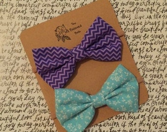 Purple and Blue Bows-Set of Two