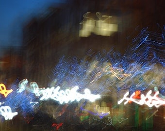 Shadyside at Night - city photograph - cityscape pittsburgh neon lights abstract
