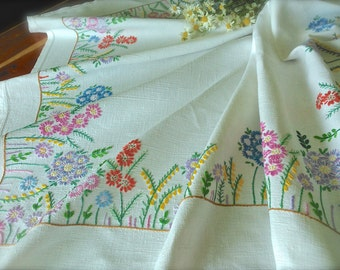 Hand Embroidered Vintage Cottage Garden Linen Tablecloth