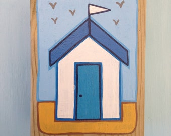Individual timber beach hut key hook