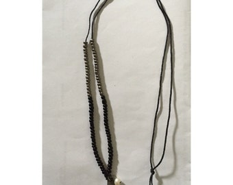 Beaded long necklace. Can be made to order (black/silver/hope is already made)!