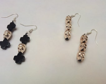 METALLIC SKULL EARRINGS, Heavy Dangle Earrings, Metallic Earrings, Skeleton Jewelry, Plus Signs, Minimalism