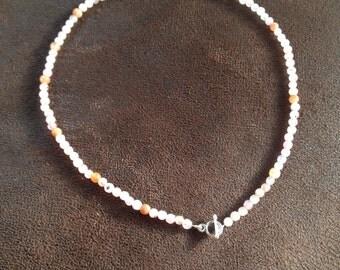 Pink quartz necklace with kapitelstokje