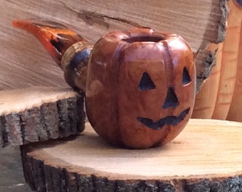 Briar Halloween Pumpkin Pipe, Briar Pipe, Halloween Pipe, Autumn Pipe, Handmade, Tobacco Pipe, Pipe