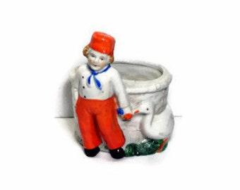 Dutch Planter 1930's Japan Dutch Boy Figurine Succulent Planter Pot Orange and White Nursery Decor Shabby Chic Folk Art Pottery