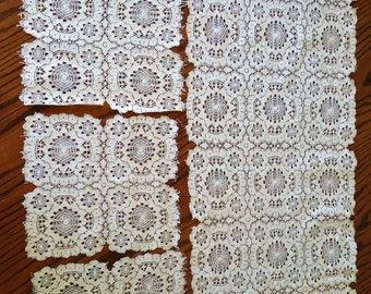 Crocheted Lace Set 4Pc Vintage Crochet Lace Table Runner and Doilies Vintage Linens Shabby & Chic Victorian Linens Antique Lace