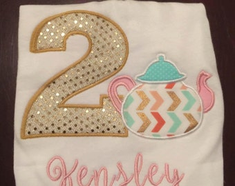 Personalized Tea for 2 Birthday Shirt / Tea Party Birthday Embroidered Applique